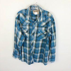Wrangler Blue Plaid Pearl Snap Western Shirt